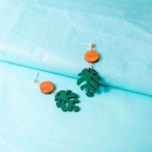 Monstera Minimal Plant Leaf Drop Wood Earrings